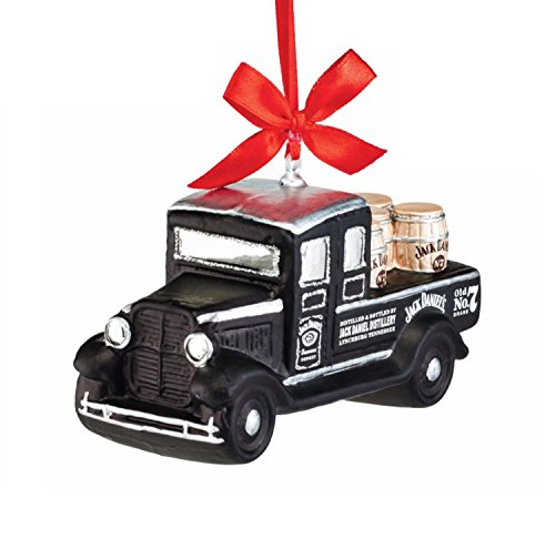 """Department 56 Jack Daniel's """"Delivery Truck"""" Glass Christmas Ornament #4052182"""