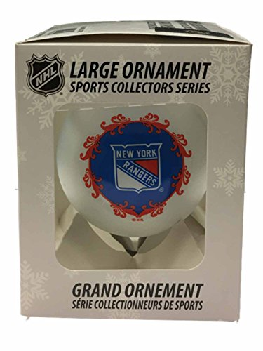 New York Rangers NHL Topperscot White Large Glass Christmas Ornament (3 1/4″)