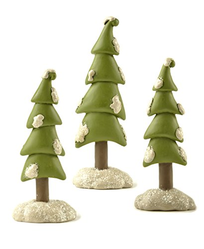 Glitter Snow Covered Trees Assorted Resin Stone Christmas Figurines Set of 3