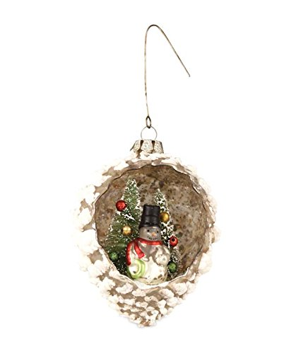 Pinecone with Snowman Mercury Glass Ornament Bethany Lowe New Christmas