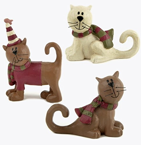 Blossom Bucket Winter Brown & White CAT in Striped Scarf Set of Three Resin Figurines