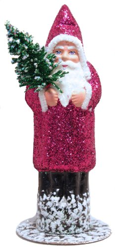 Ino Schaller Santa in Fuschia Glitter Coat with Tree Paper Mache Candy Container