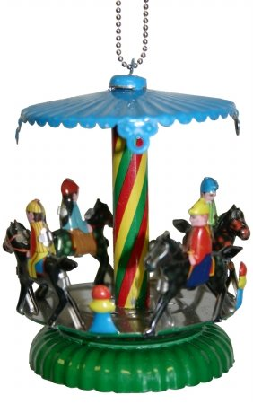 "MM277 – Collectible Tin Ornament – Horse Carousel – 3.5″""H x 2.5″""W x 2.5″""D"