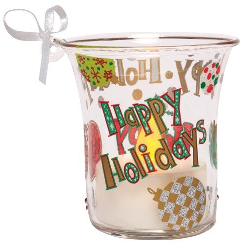 Santa Barbara Design Studio Lolita Holiday Mini Candle LED Ornament, Happy Holidays