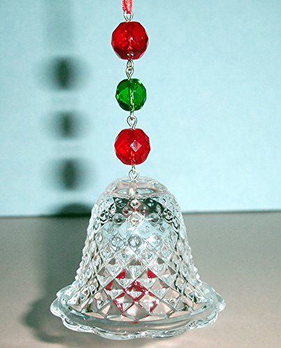 Baccarat Crystal Noel 2013 Bell Ornament Red Green #2804663 New In Box