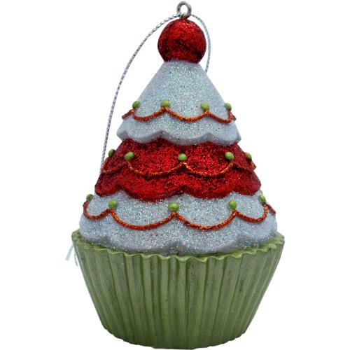 Jillson Roberts Christmas Cupcake Ornament, Red/White Tree Glitter