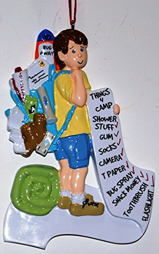 Boy Going Off to Camp Christmas Ornament, Free Personalization