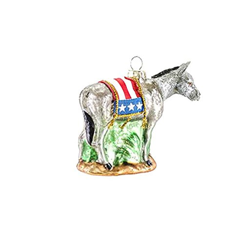 One Hundred 80 Degrees Election Political Party Glass Hanging Ornament (Democrat Donkey)