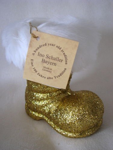 INO SCHALLER BAYERN 7″ Gold Santa Claus Boot -Ornament Candy & Gift Storage