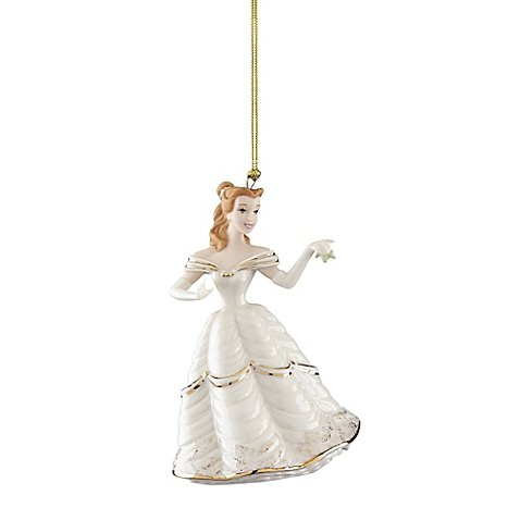 4″ H Lenox Christmas Time White Belle Porcelain Ornament with Hand-Painted Gold Accents