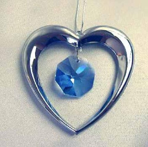 Blue Swarovski Crystal Silver Heart Ornament or Suncatcher 2.5 by 2.5 Inches