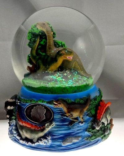 Dinosaurs . Snow Globe – Sculptured Resin Water Ball Music Box 5 3/4″ High, Dino, Tune: Going Home