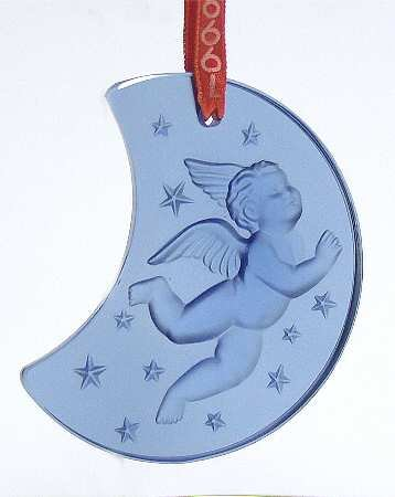 Lalique Crystal 1999 Blue Cherub on Half Moon Ornament