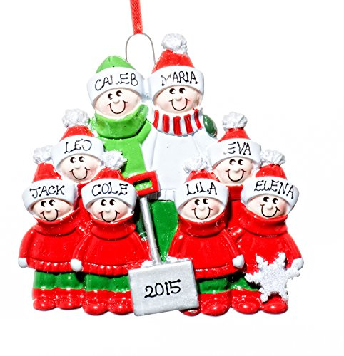 Family 8 (eight) Person Personalized Name Snow Shovel Holiday Christmas Tree Ornament-Free Name Personalized – Shipped In One Day