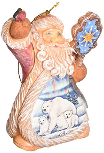 G. Debrekht Santa Polar Bear Ornament, 5″