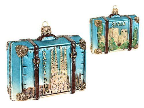 Spain Travel Suitcase Polish Blown Glass Christmas Ornament Barcelona Decoration by Pinnacle Peak Trading Company