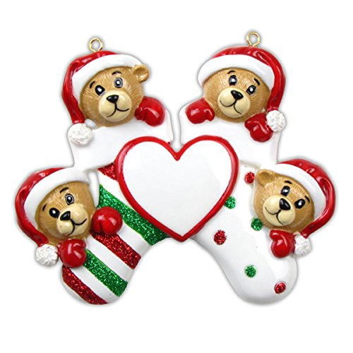 Personalized Bear Family 4 Members Christmas Holiday Gift Expertly Handwritten Ornament