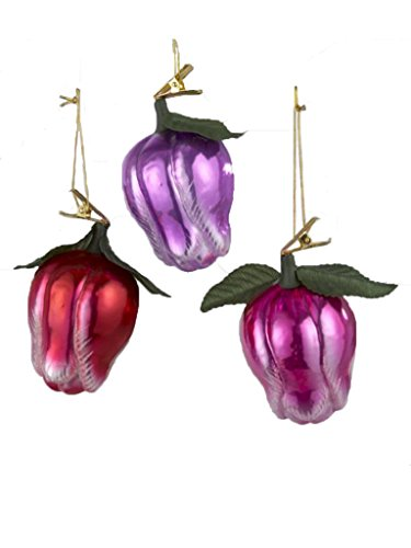 Pink, Red & Purple Tulips – Noble Gems Glass Clip-on Ornament – Set of 3