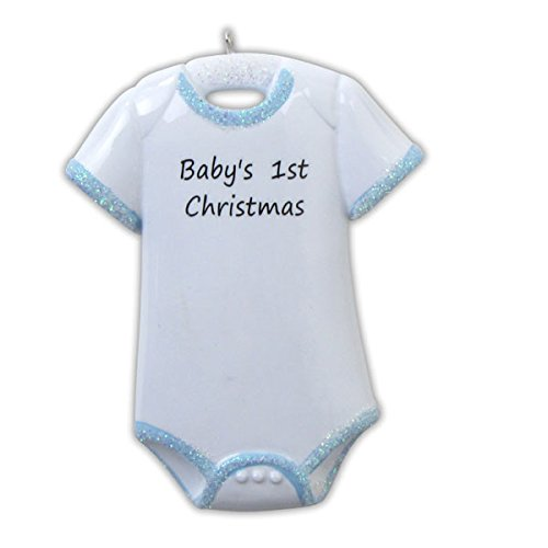 Baby Boy Onesie First Christmas Personalized Christmas Ornament