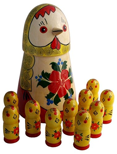 Unique Matryoshka – Set Of Stacking Wooden Dolls – Hen & 10 Chicks Inside – Wooden Russian Nesting Dolls – Handmade Toy – Great Gift – 7″ Tall