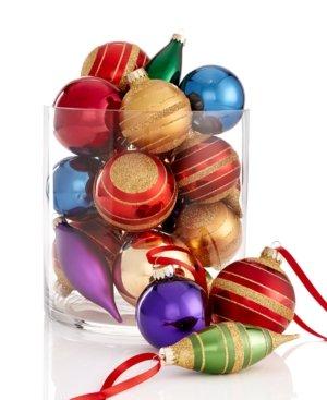Holiday Lane Set of 22 Jewel Tone Banded Ornaments
