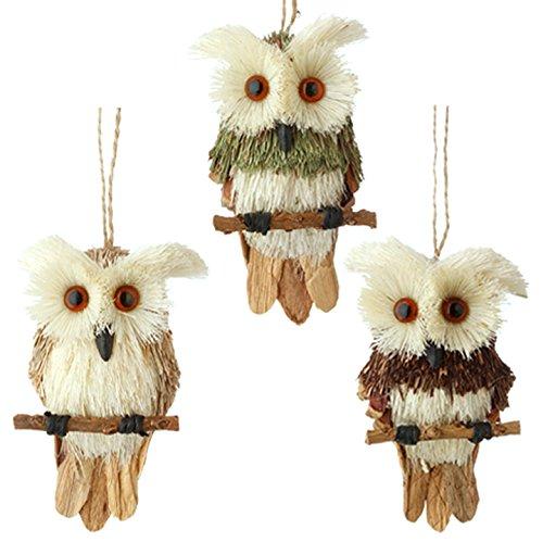 RAZ Imports Natural 5″ Sisal Owls on Twigs Christmas Tree Ornaments – Set of 3
