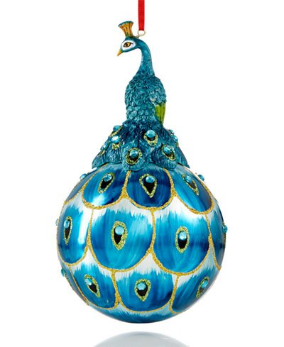 Holiday Lane Peacock Ornament 2 count