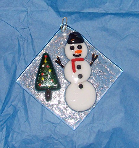 Snowman with a Christmas Tree Handmade Large Fused Glass Ornament