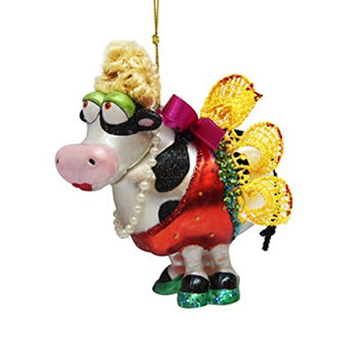 December Diamonds Blown Glass Ornament – Cow with Yellow Lace Dress & Pearl Necklace