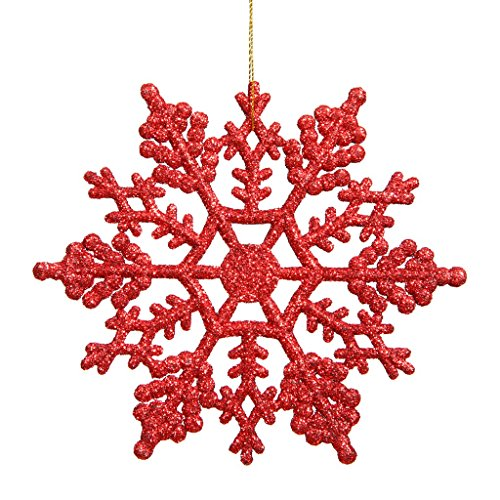 Vickerman 23568 – 8″ Red Glitter Snowflake Christmas Tree Ornament (12 pack) (M101603)