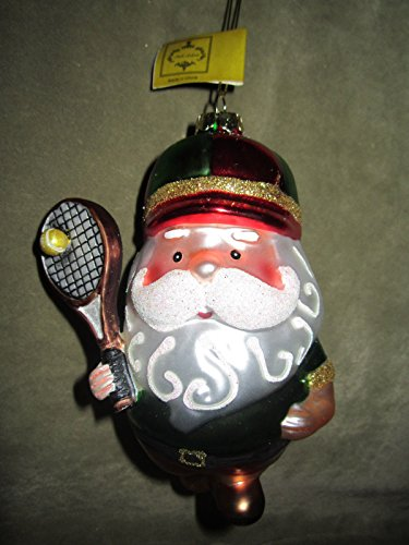 Mark Roberts Tennis Player Santa Claus Glass Christmas Tree Ornament