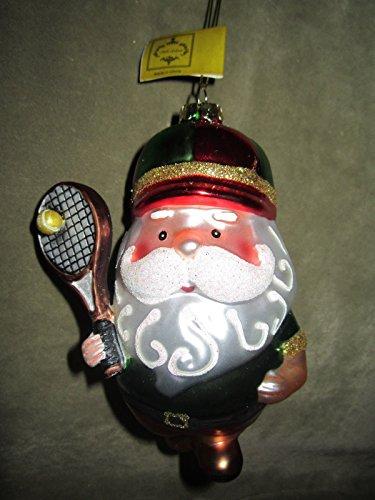 Mark Roberts Tennis Player Santa Claus Glass Christmas Tree Ornament