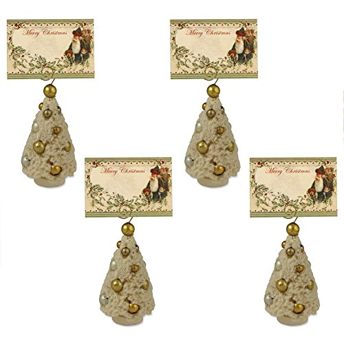 Bethany Lowe Romantic Bottle Brush Placecard Holder/Ornament, Set of 4