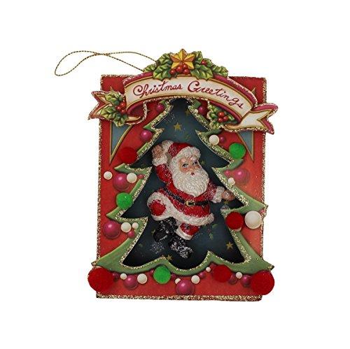 Vintage Style Shadow Box Santa Ornament Dancing Santa