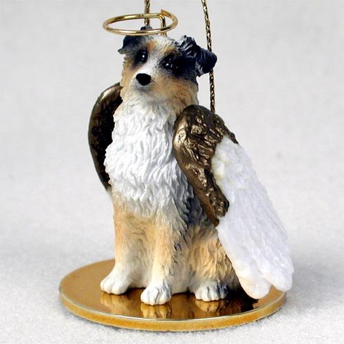 Shepherd Gold On Blue Silhouette Ornament: Australian Shepherd Blue Docked Tail Angel Ornament