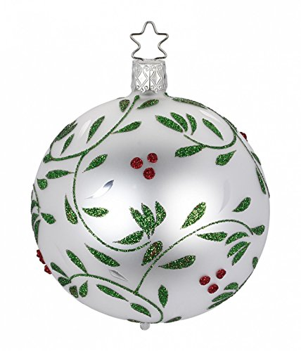 Ball 8 cm, Berry Delights, White Matte, #20299T008, from the 2016 Christmas Memories Collection by Inge-Glas Manufaktur; Gift Box Included