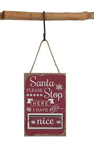 Santa Please Stop Here Sign Hanging Tree Ornament