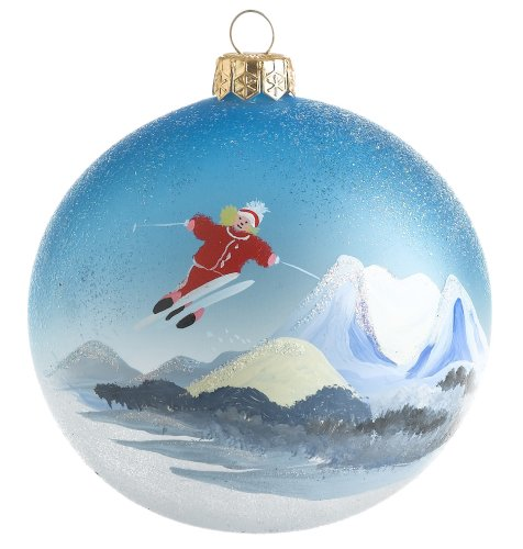 Ornaments To Remember Oregon: Mt. Bachelor (Skier) Hand-Blown Glass Ornament