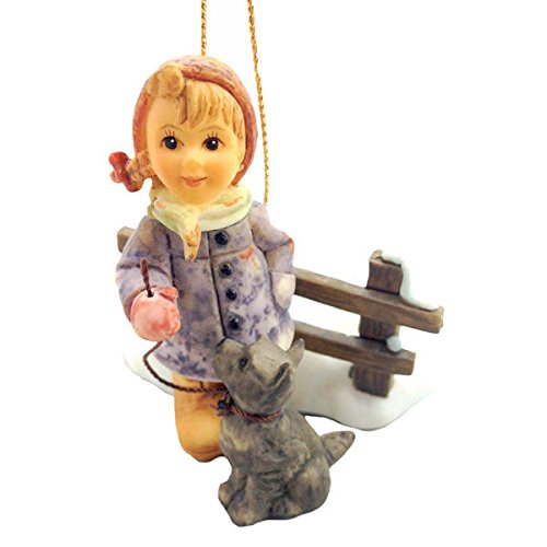 Traditional Multi Color Star Light Star Bright Ornament Depicts A Little Girl With Her Dog 2.75 Inches Tall