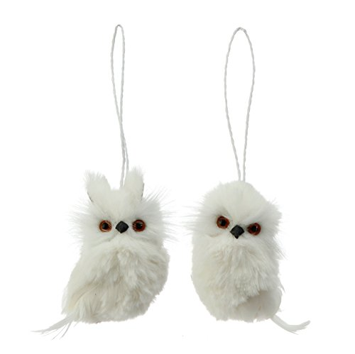 Set of 2 Assorted RAZ Imports 4″ Polyfoam White Winter Owl Ornaments