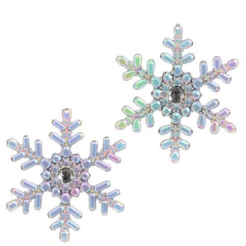RAZ Imports – Multicolored Peacock Iridescent Snowflake Christmas Tree Ornaments 5.5″