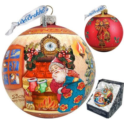 G. Debrekht Limited Edition Christmas Night Glass Ball Ornament, 5.5″