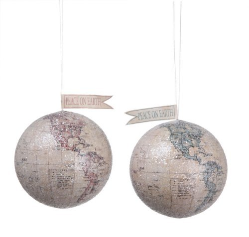 Creative Co-op Peace on Earth World Ornaments, Set of 2 by Creative Co-op