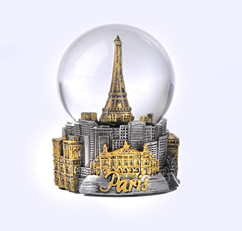 Paris France Eiffel Tower Snow Globe 65mm- Silver With Gold Tone Icons
