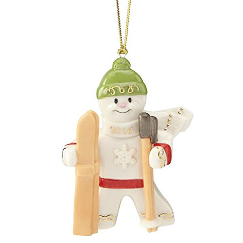 Lenox 2016 Annual Gingerbread Man Ornament Downhill Delight Skiing