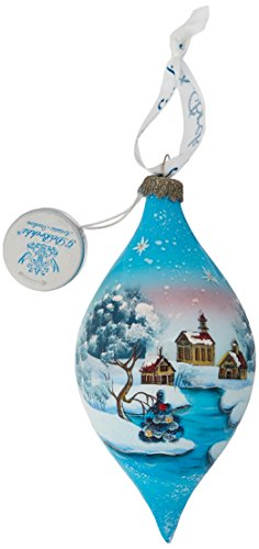 G. Debrekht Led Winter House Glass Ornament, 5.5″