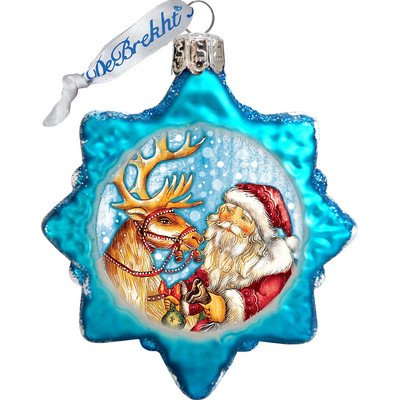 G. Debrekht Reindeer Santa Glass Ornament