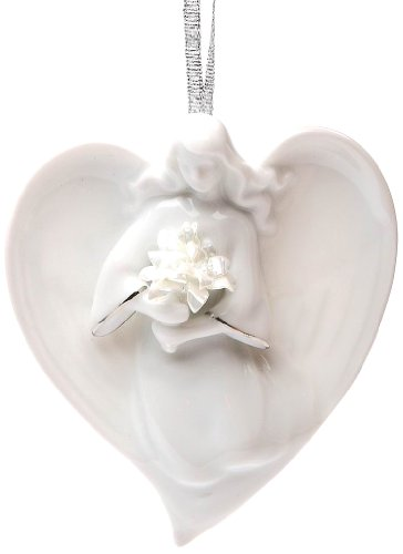 Appletree Design Angel Holding Flower Ornament, 3-1/8-Inch Tall, Includes Ribbon for Hanging