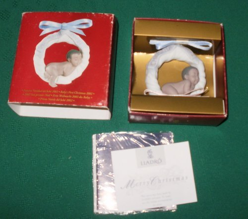 Lladro Baby's First Christmas Ornament 2002 African American