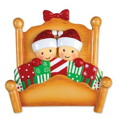 Bed Heads Family of 2 Couple Personalized Christmas Tree Ornament